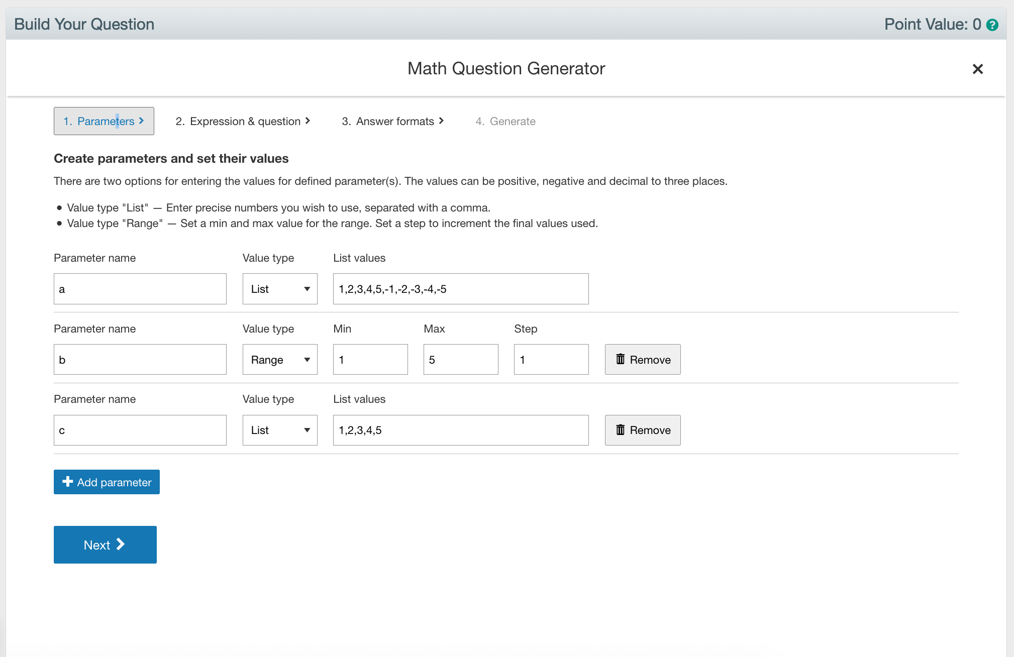 Math Question Generator Step 1